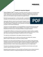 Bombardier Statement Metrolinx En