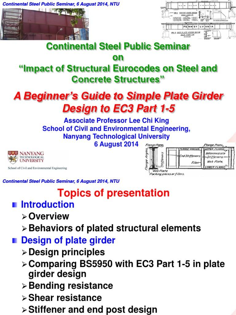 Plate Girder Steel Seminar pdf | Buckling | Structural Steel