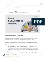 Union Budget 2017 Overview