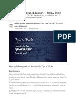 How to Solve Quadratic Equation_ – Tips & Tricks