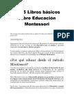 Los 5 Libros Básicos Sobre Educación Montessori