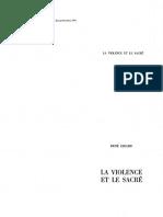 Girard La Violence Et Le Sacre