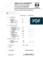 Head Nursing Performance Evaluation Form