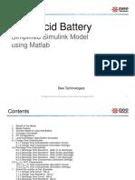 Lead Acid Battery Simplified Simulink Model Using Matlab
