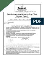 Sample Paper Foundation 2015 Class IX