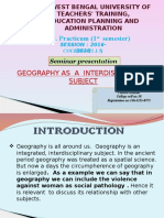 Geography as a Inter Diciplinary Subjct Ppt