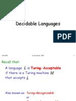 Decidable Languages