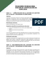 Especificaciones Tecnicas Para Implementacion de Certificacion Iso 45001