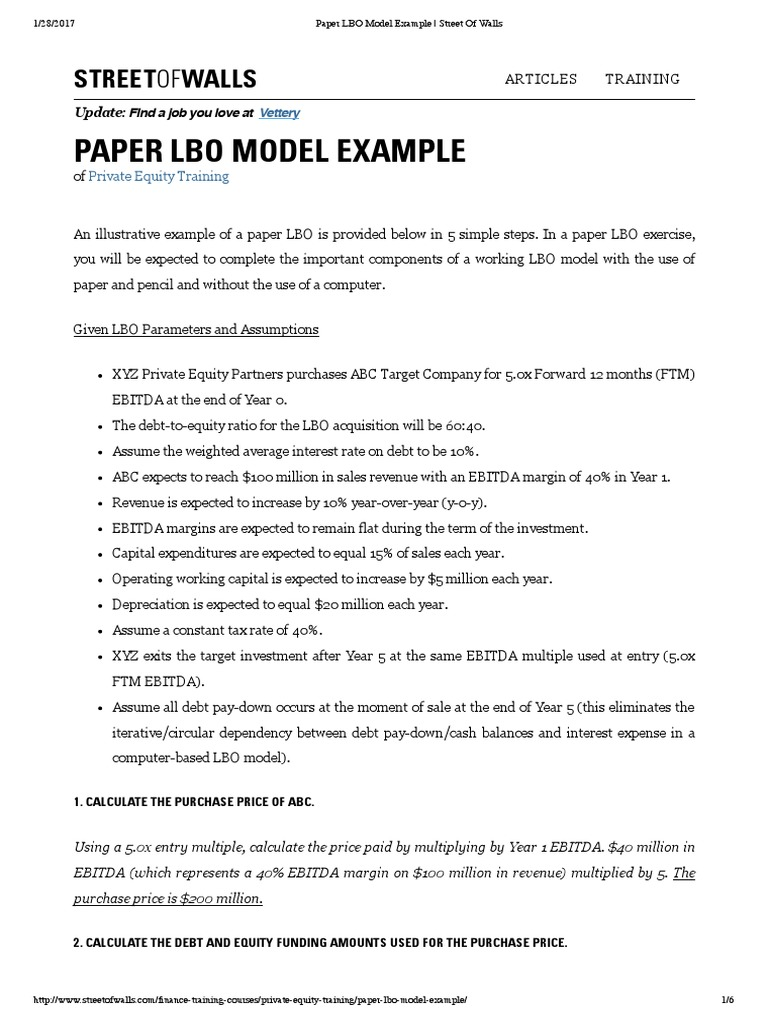 Paper LBO Model Example | Street Of Walls | Leveraged Buyout | Free ...