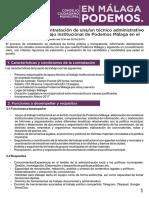 Convocatoria Contratación Técnico para el apoyo del trabajo institucional de Podemos Malaga en el ámbito municipal.