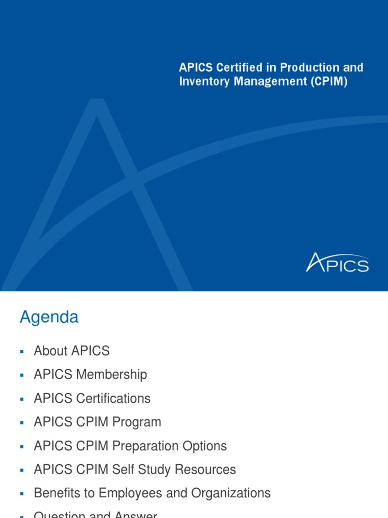 About Apics Cpim Presentation Supply Chain Management