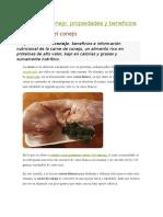 Carne de Conejo, Propiedades y Beneficios