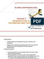 Lecture 1 Intoduction to Estimating and Costing1