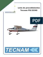 Lista de Chequeo Tecnam P92 Echo