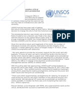 UNSOS provides critical support to Somalia's presidential election