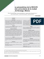 Propiedades Psicométricas de La CES-D-Is en Población Universitaria de La Ciudad de Durango, México