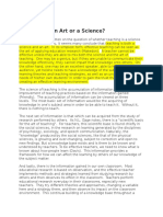 Teaching as Science and Art