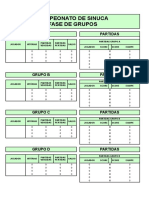 Tabela de Campeonato de Sinuca