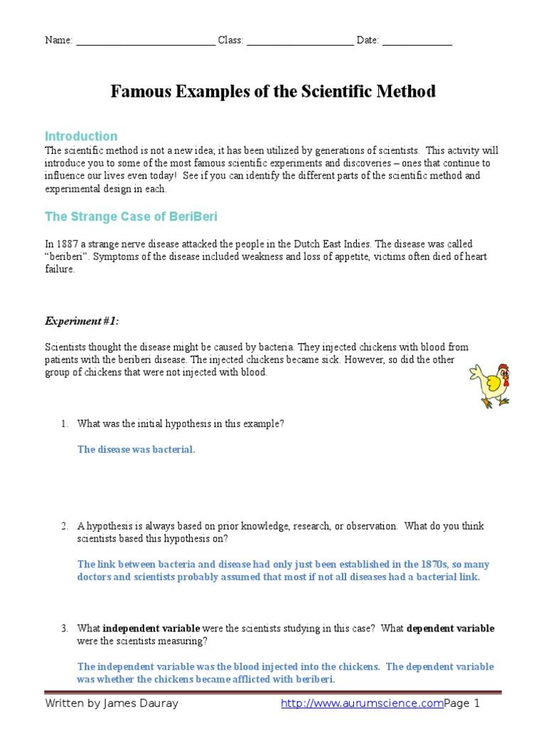126256417 Famous Examples of the Scientific Method Worksheet – Scientific Method Variables Worksheet