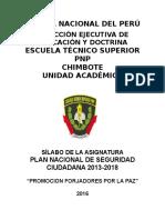 Silabu de Plan Nacional de Seguridad Ciudadana 2013-2018