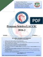 LACCIC PROVA + GABARITO - PROCESSO SELETIVO 2016-2
