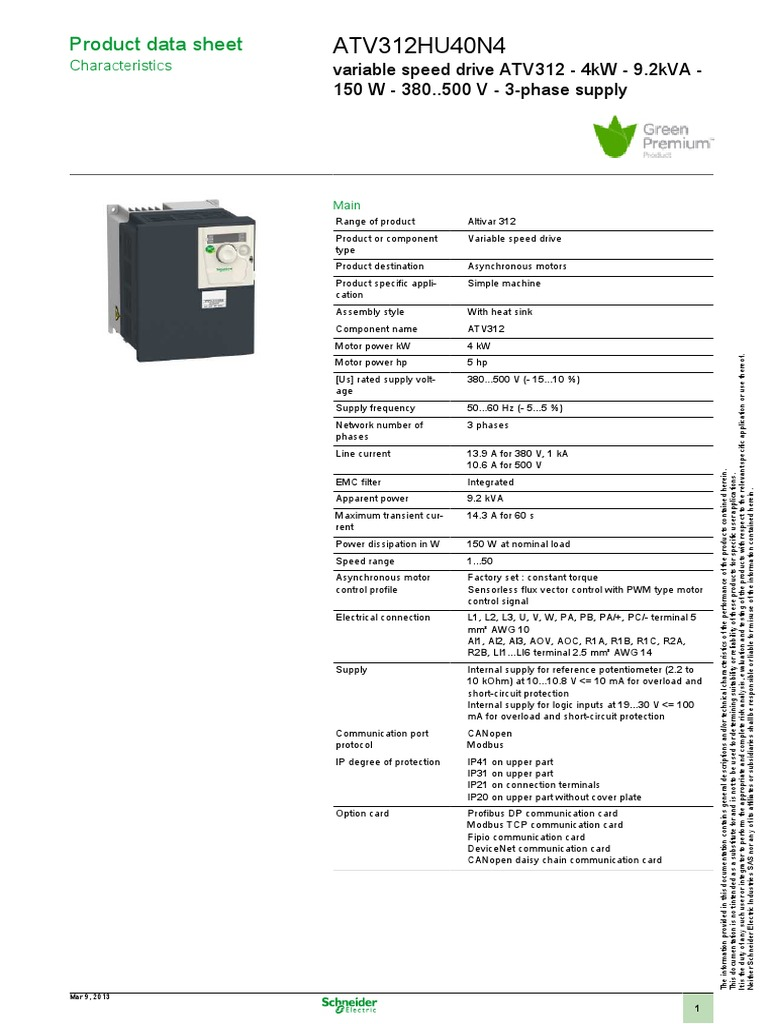 Schneider Electric Atv312hu40n4 Datasheet Electrical Impedance Relay Atv312 Wiring Diagram