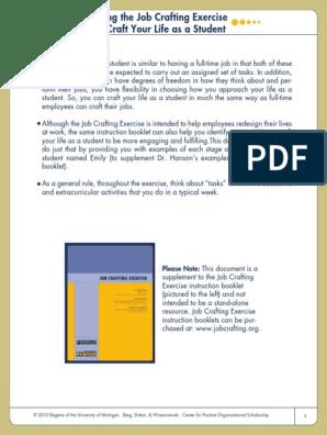 93950758-Job-Crafting-Exercise pdf | Homework | Quality Of Life