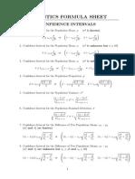 Corrected Statistical Tables and Formula Sheet