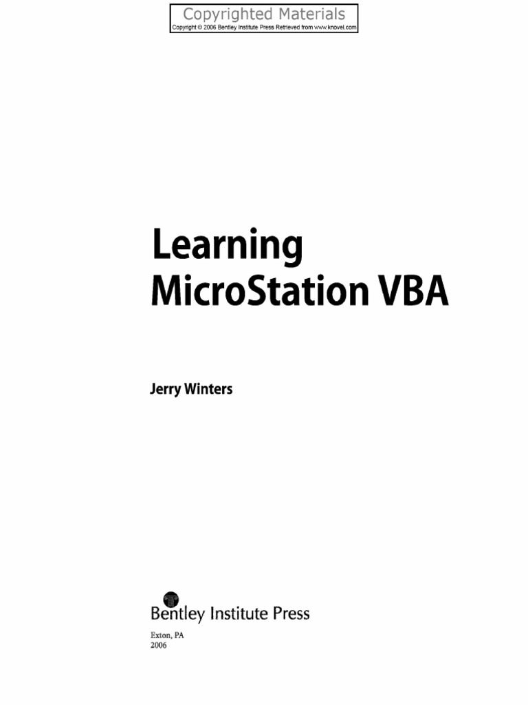 Winters Learning Microstation Vba Pdf Visual Basic For