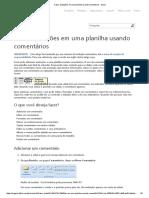 Fazer Anotações Em Uma Planilha Usando Comentários - Excel