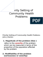 Priority Setting of Community Health Problems