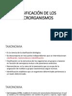 Clasificacion de Los Microrganismos