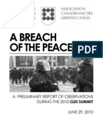 CCLA G20 Interim Report - A Breach of the Peace, June 29 2010