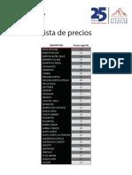 Lista de Precios Picacho McGregor