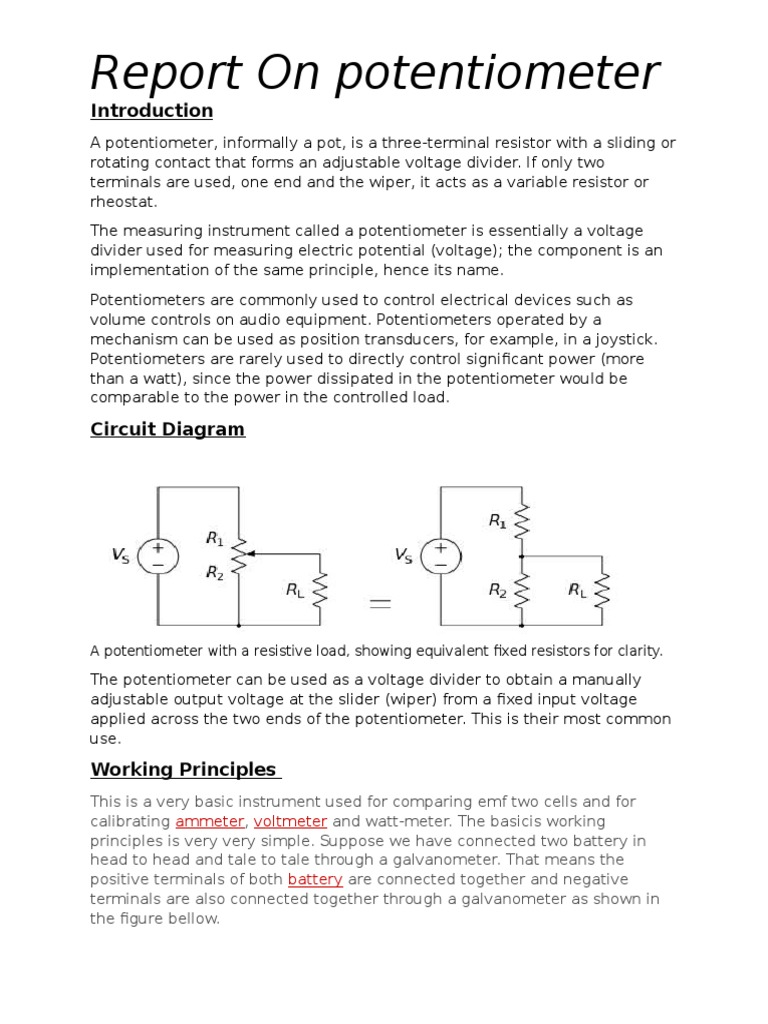 Potentiometer Telecommunications Engineering Electrical Components Variable Resistor Circuit Diagram