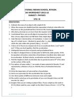Physics Worksheet 1- Class IX Gravitation