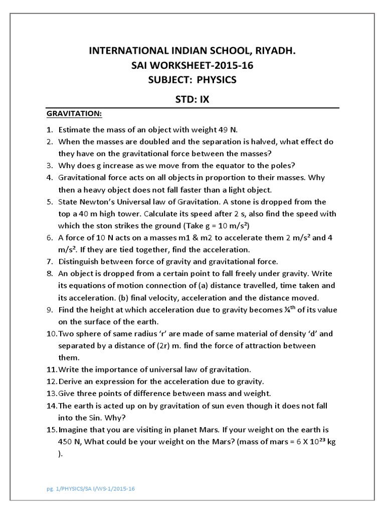 Physics Worksheet 1 Class IX Gravitation – Universal Law of Gravitation Worksheet