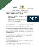"""""""Guías para empleadores"""" para erradicar el trabajo infantil en Ecuador"""