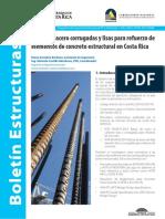 Barras de acero corrugadas y lisas para refuerzo de elementos de concreto estructural en Costa Rica