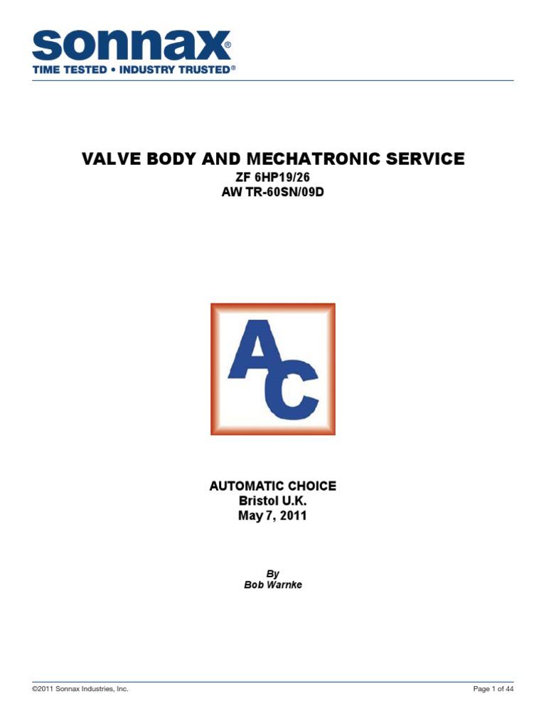 VALVE BODY AND MECHATRONIC SERVICE pdf | Clutch | Valve