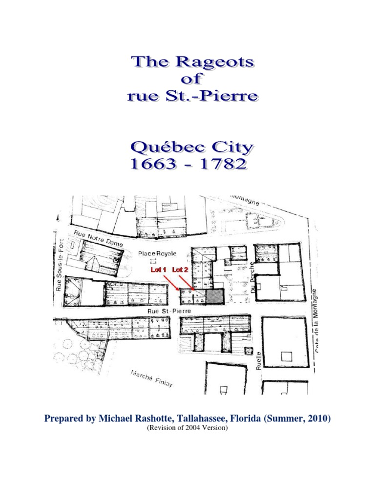 PIERRE: QUEBEC CITY 1663-1782 (by Michael Rashotte)   New France   Quebec