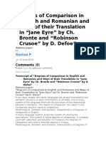 Degrees of Comparison in English and Romanian and Ways of Their Translation In Jane Eyre