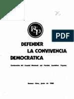 1981 - Defender La Convivencia Democrática
