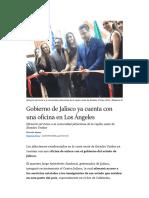 Gobierno de Jalisco ya cuenta con una oficina en Los Ángeles