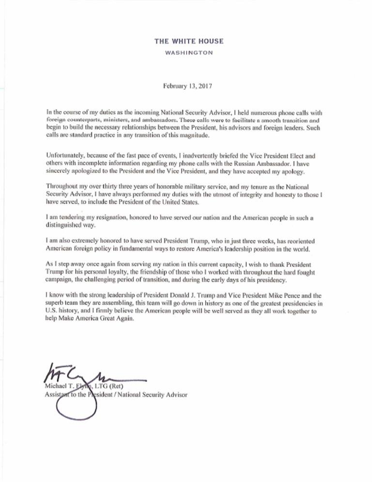 Flynn resignation letter