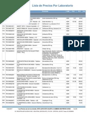 Rptlistaprecioslaboratorio Pdf Compuestos Organicos Drogas