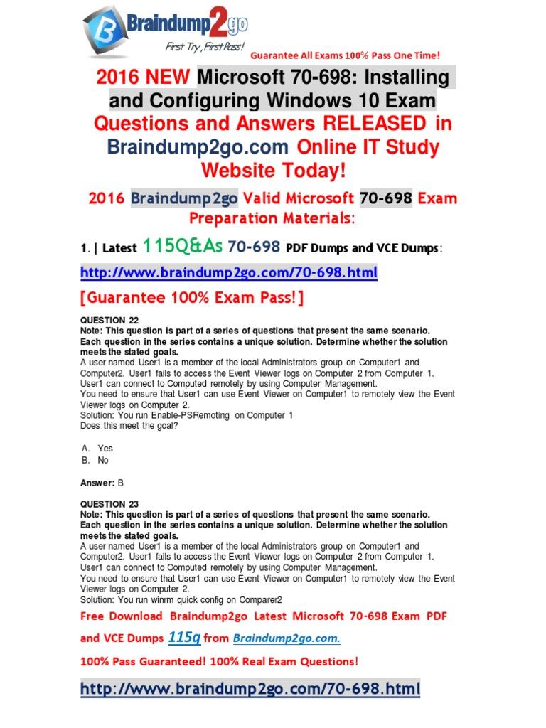 2016 November Braindump2go 70 698 Vce Dumps New Released 22 31 Pdf