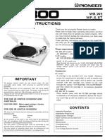 Pioneer PL 300 Owners Manual
