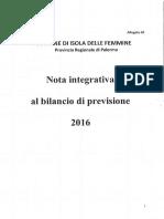 2016 29 Dicembre Bologna Sindaco c.c. Delibera 53 Bilancio Di Previsione Deborah Puccio Revisori Dei Conti Nota Integrativa h