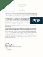Resignation letter of national security adviser Mike Flynn